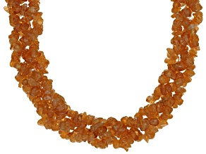 Orange spessartite garnet chip necklace
