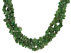 Green tsavorite garnet chip sterling silver necklace