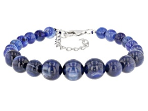 Blue kyanite bead sterling silver bracelet