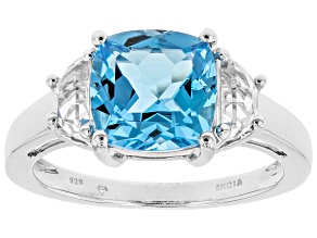Swiss blue topaz rhodium over silver ring 4.50ctw