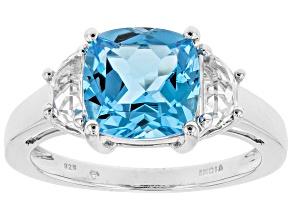 Swiss blue topaz rhodium over silver ring 4.50ctw
