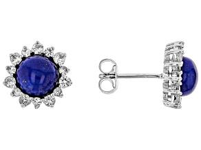 blue lapis lazuli sterling silver stud earrings .77ctw