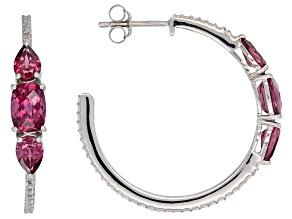 Raspberry color rhodolite rhodium over silver earrings 2.84ctw