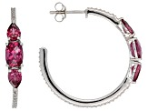 Raspberry color rhodolite rhodium over silver earrings 2.84ctw