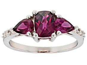 Purple raspberry color rhodolite rhodium over silver ring 1.87ctw