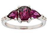 Raspberry color rhodolite rhodium over silver ring 1.87ctw