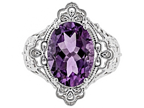 Purple amethyst sterling silver ring 4.95ct