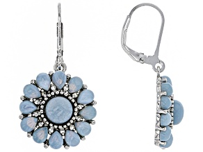 Blue Opal Sterling Silver Earrings .20ctw