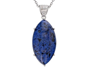 Blue dumortierite rhodium over silver pendant with chain
