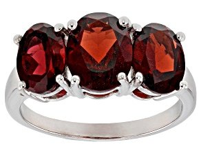 Red garnet sterling silver ring 4.43ctw
