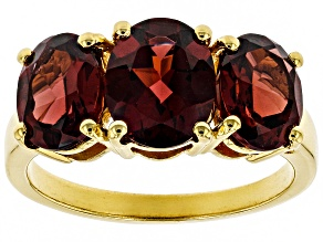 red garnet 18k gold over silver ring 4.43ctw