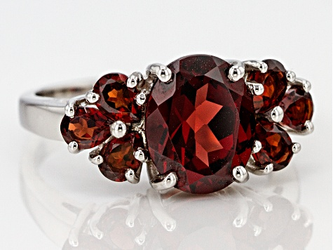 Red garnet sterling silver ring 3.60ctw