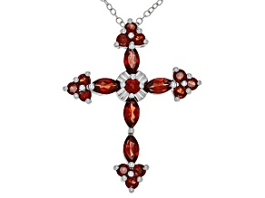 Red garnet sterling silver pendant with chain 2.58ctw