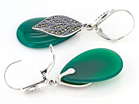 Green onyx rhodium over sterling silver dangle earrings