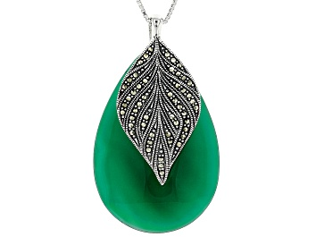Picture of Green onyx rhodium over sterling silver pendant with chain