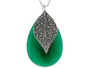 Green onyx rhodium over sterling silver pendant with chain