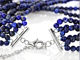 Blue lapis lazuli bead sterling silver necklace