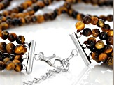 Brown tiger's eye bead sterling silver necklace