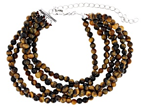 Brown tigers eye bead sterling silver bracelet