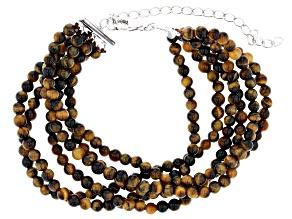 Brown tigers eye bead sterling silver bracelet