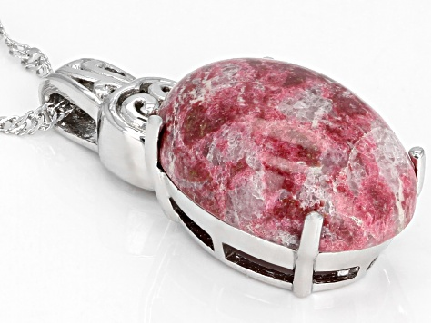 Red thulite sterling silver pendant with chain