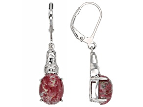 Red thulite rhodium over sterling silver dangle earrings