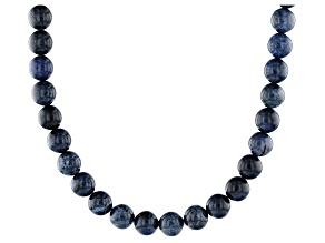Blue dumortierite sterling silver bead necklace