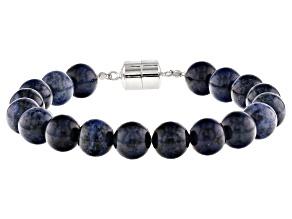 Blue Dumortierite sterling silver bead bracelet