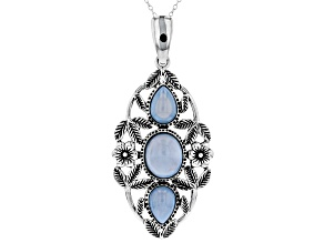Blue opal sterling silver enhancer with chain