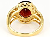 Red hessonite 18k yellow gold over sterling silver ring