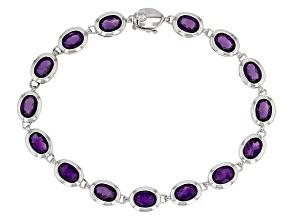 Purple amethyst sterling silver bracelet 11.00ctw
