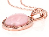 Pink opal 18k over sterling silver rose gold enhancer with chain