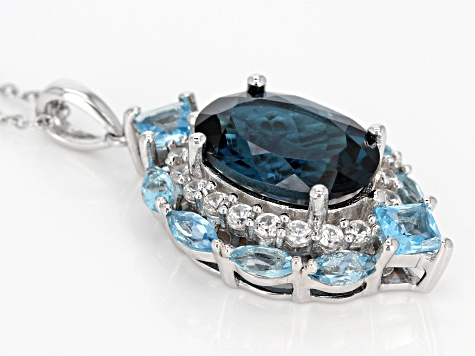 Blue topaz rhodium over sterling silver pendant with chain 8.87ctw