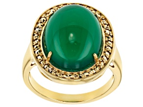 Green onyx 18k gold over sterling silver ring