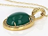 Green onyx 18k yellow gold over sterling silver pendant with chain.