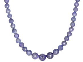 Blue tanzanite beads sterling silver necklace