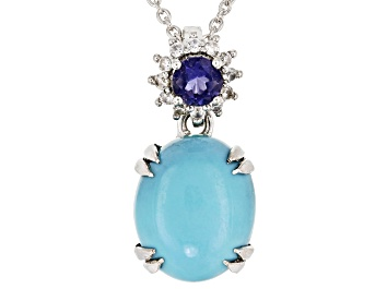 Picture of Blue turquoise silver pendant with chain .20ctw