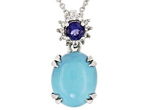 Blue turquoise silver pendant with chain .20ctw