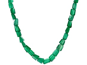 Green Onyx Sterling Silver Bead Necklace 144.50ctw