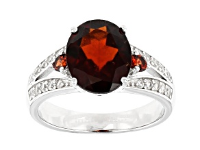 Red Hessonite Rhodium Over Sterling Silver Ring 3.71ctw