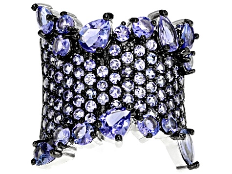 Blue tanzanite sterling silver ring 3.41ctw