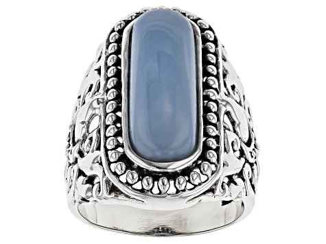 Blue opal sterling silver ring.