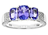Blue Tanzanite Rhodium Over Sterling Silver Ring 1.79ctw