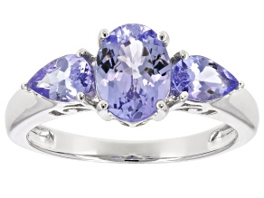 Blue tanzanite sterling silver 3-stone ring 1.74ctw