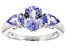 Blue Tanzanite Rhodium Over Sterling Silver Ring 1.74ctw