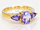Blue Tanzanite 18k Gold Over Sterling Silver Ring 1.74ctw