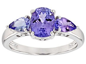 Blue tanzanite sterling silver 3-stone ring 1.95ctw