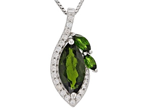 Green chrome diopside rhodium over sterling silver pendant with chain 3.60ctw