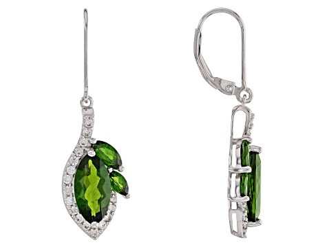 Green chrome diopside rhodium over sterling silver dangle earrings 5.05ctw