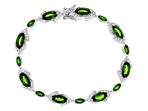 Green chrome diopside rhodium over sterling silver bracelet 14.00ctw